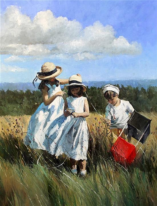 § Sherree Valentine-Daines (1956 - ) 'Winding the string, Boxhill' 36 x 28in.