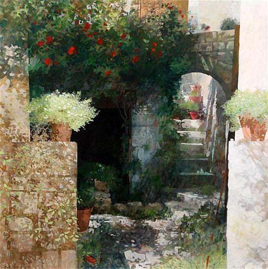 Keith Dunkley (1942-) Garden archway 23 x 23in.