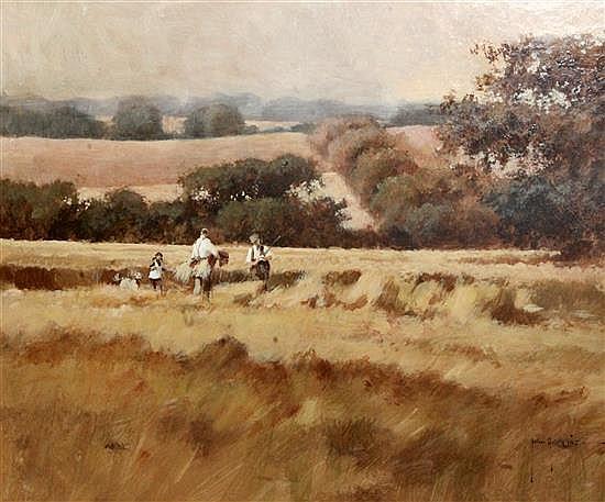 John Haskins (1938-) The Cornfield 16.5 x 20.5in.