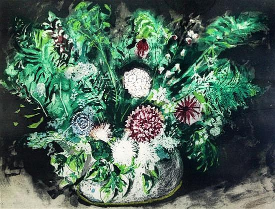 § John Piper (1903-1992) Dahlias and ferns, (Levinson 391) overall 17.75 x 23.25in.