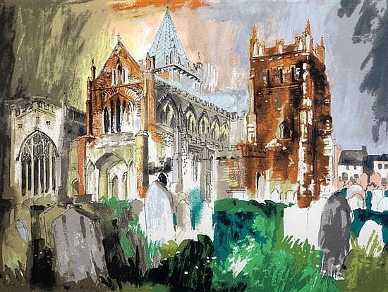 § John Piper (1903-1992) Ottery St Mary, (Levinson 402) overall 24.5 x 31.5in.