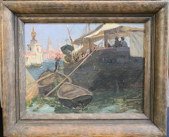 Giuseppe Ciardi (1875-1932) Venetian boating scenes 9.5 x 12.5in.