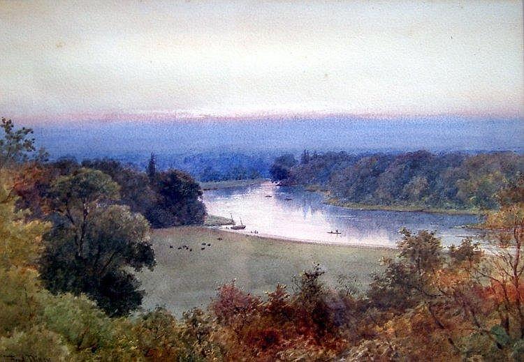 Frederick Charles Dixey (fl.1877-1920) River landscape,