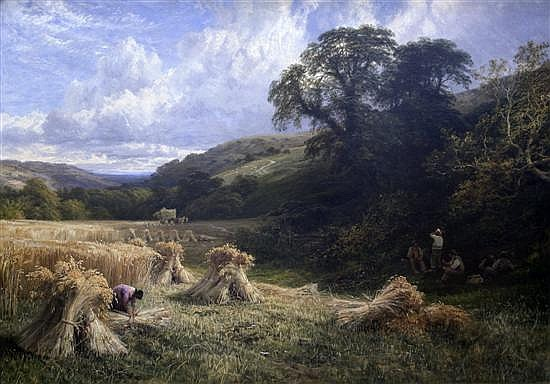 George Cole (1810-1883) Harvesting near Leith Hill, Dorking 40 x 59.5in.