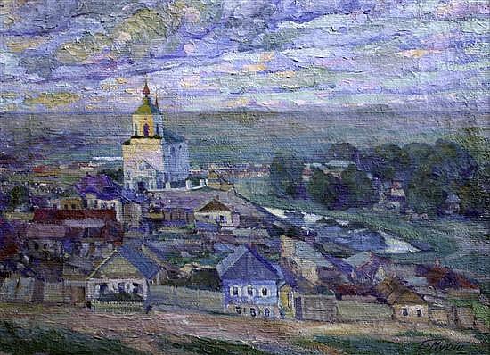 Vera Ignatierna Mukhina (1889-1953) Landscape with village and church 27 x 37in.