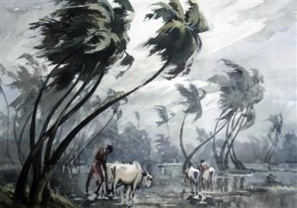 G.D. PaulRaj (Indian) Buffalo drivers in a monsoon 14 x 20in.
