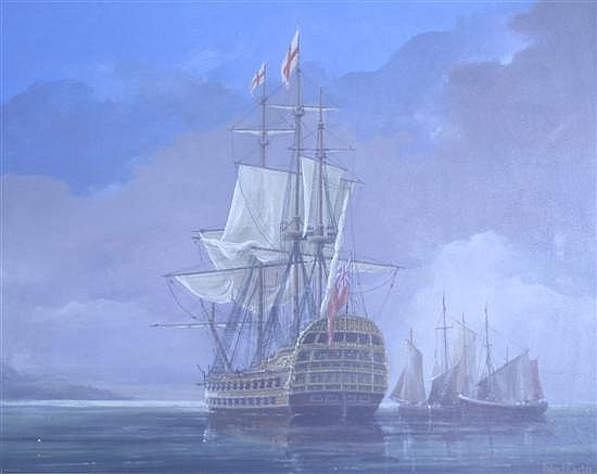 Peter J. Carter Frigate at anchor 17 x 21in.