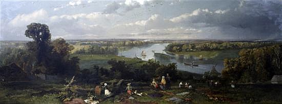William E Jones (fl.1849-1871) The Thames from Richmond Hill, Surrey 26 x 60in.