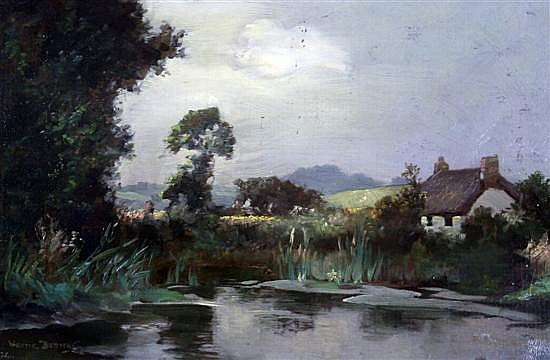 Alfred J. Warne-Brown (fl.1884-1913) 'Sunny Cottage, Poltesea Valley, Cornwall' 9 x 14in.