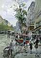 Rene Leverd (French, 1872-1938) Paris street scene 7.25 x 5.25in., René Leverd, Click for value