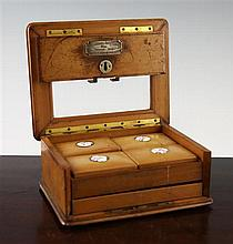 A 19th century satinwood playing card box, 9in.