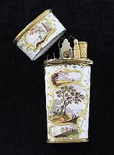 A George III gilt metal and enamel etui case, 4in.