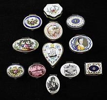 A collection of twelve early 19th century enamel patch boxes,