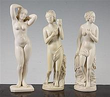 Three Indian ivory figures