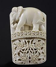 An early 20th century relief carved ivory panel, 4.25in.