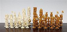 An early 20th century Chinese carved ivory chess set, Kings 5.25in.