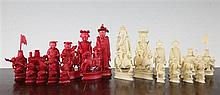 An early 20th century Canton red stained and natural ivory chess set, kings 4.5in.