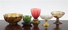 A 19th century vase, dish, bowl on stand & 2 other items