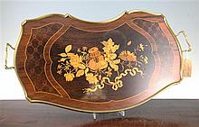 An early 20th century French marquetry inlaid rosewood tray, 24in.