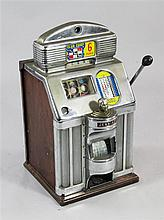 A Jennings Club Chief Tic Tac Toe One Arm Bandit slot machine, c.1960, 27in.