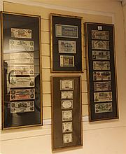 A collection of American and Republic of France first issue banknotes, 18th/19th century, contained in four glazed frames
