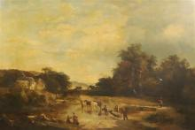 Sidney Richard Percy (1822-1886) Landscape with timber cart crossing a stream 25.5 x 37.5in.
