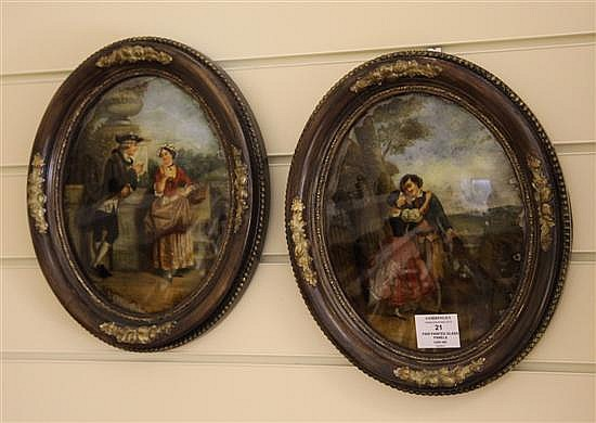 A pair of Victorian reverse painted glass oval pictures, 13 x 10.5in.