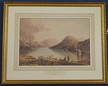 Attributed to Henry Ninham (1793-1874) Lake scene, 11 x 16in.