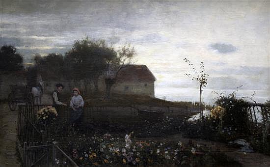 Karl Bennewitz Von Lofen (younger) 1856-1931 Figures in a waterside flower garden 22 x 36in.