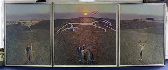 Clifford Bayly (1927-) 'Alignment Sixteen, The White Horse Plagued by Gliders' 48 x 48in. and 48 x 36in.(2)