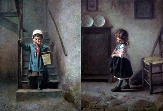 Joseph-Athanase Aufray (b.1836)  Children in interiors 10 x 7.5in.