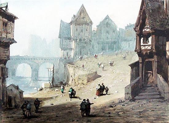 Etienne-Barthelemy Garnier (1759-1849) Medieval town scene, 5 x 6.75in.