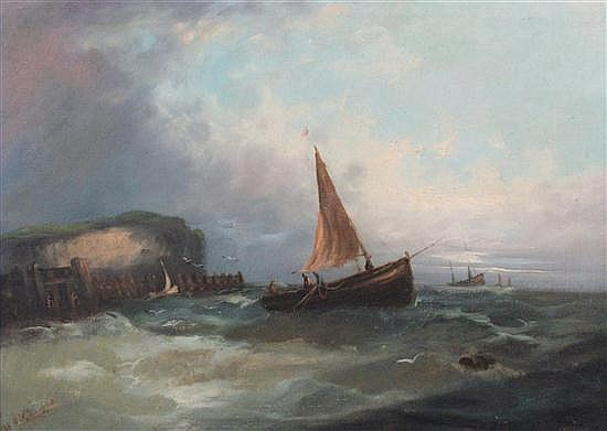 William Henry Williamson (1820-1883) Fishing boats at sea, 14.5 x 19.5in.