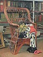 Harry Bush (1883-1957) Harlequin costume on a wicker chair, 20 x 15in., Harry (1883) Bush, Click for value