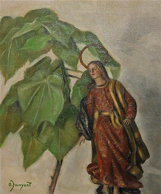Oleguer Junyent Sans (Spanish, 1876-1958) Figure of the Virgin and a pot plant, 21.5 x 18in. unframed.