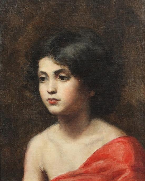 Attributed to Alexej Alexejewitsch Harlamoff (Russian, 1842-1922) Portrait of a girl wearing a red scarf, 18 x 14in.