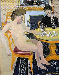 Marguerite Louppe (1902-) Interior with women playing cards, 18 x 15in.