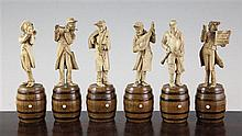 Six 19th century Bavarian carved ivory musician figures, 6.25in.