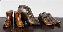 An unusual 19th century Dutch double opening treen snuff shoe, largest 4.5in.
