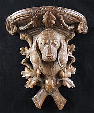 A late 19th century Black Forest carved wall bracket, 11in.