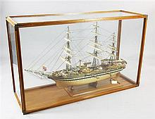 A large cased model of the Italian tall ship, Amerigo Vespucci, overall 4ft 6in. x 2ft 9in. x 1ft 6in.