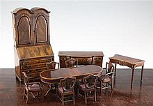 A collection of dolls house furniture, 9.5in.