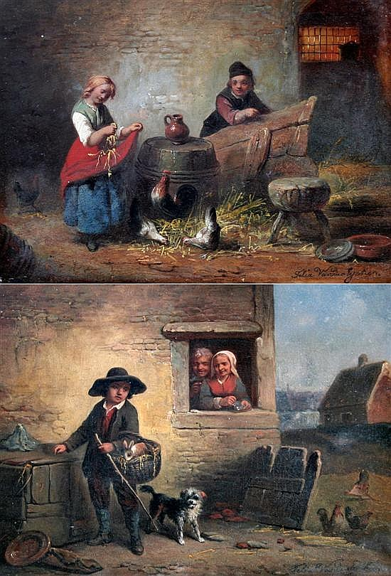Felix Van Den Eycken Rabbit seller and Feeding the chickens, 9.5 x 12in.
