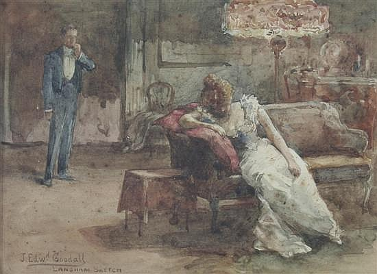 John Edward Goodall (fl.1877-1891) 'Langham Sketch' 5.25 x 7.5in.