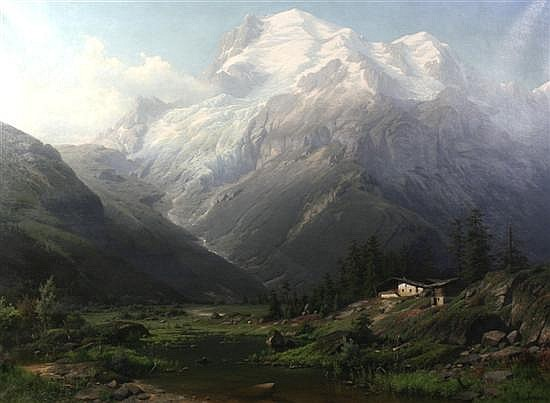 Joseph Jansen (German, 1829-1905)  Beneath Mont Blanc, 37 x 51in.