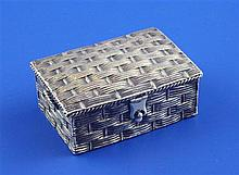 A Victorian novelty silver sewing compendium by Sampson Mordan & Co, modelled as a picnic hamper, 2.25in.