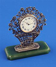 An early 20th century French silver, marcasite and ruby set boudoir timepiece by E. Dreyfous, 3.25in.