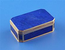 A 19th century gold mounted lapis lazuli snuff box, 2.5in approx.