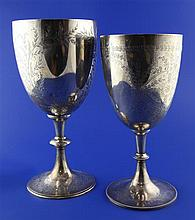 Two Victorian silver trophy cups, 36 oz.