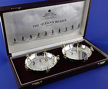 A cased pair of commemorative limited edition parcel gilt silver